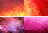 Red, orange and pink low poly backgrounds, vector set — Stock Vector