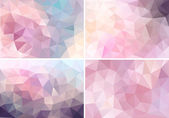 Pastel pink low poly backgrounds, vector set — Stock Vector
