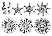 Music flowers, vector set — Stock Vector