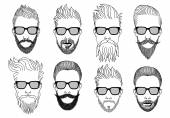 Hipster faces with beard, vector set — Stock Vector