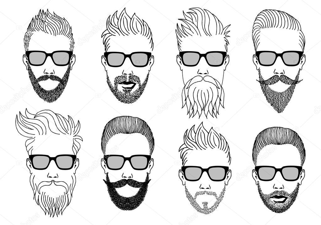 Hipster Rostros Con Barba, Conjunto Vectoriales