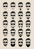 Faces with beard, user, avatar, vector icon set — Stock Vector