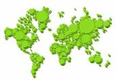 Green world map, 3D dots, vector — Stock Vector
