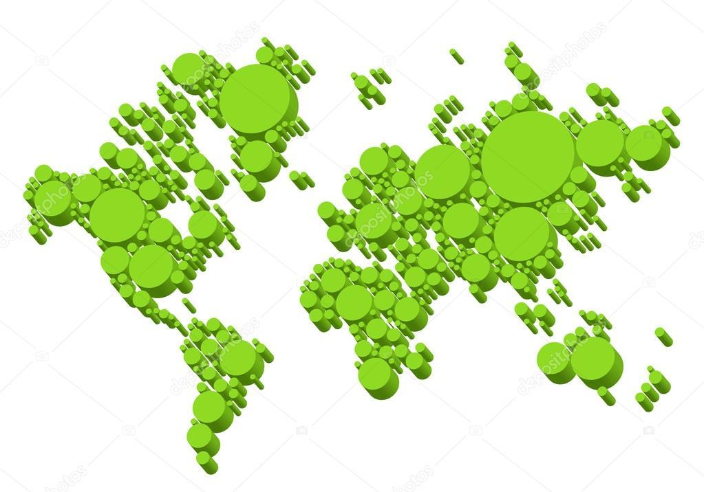 绿色世界地图, 3d 点, 矢量背景– 图库插图