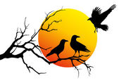 Ravens on tree branch, vector — Stock Vector