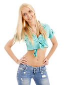 Beautiful young blond woman smiling and looking at the camera — Stock Photo