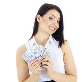 Successful  business woman with cash in hand — Стоковое фото