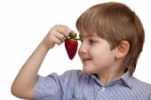 Beautiful caucasian boy inhales the aroma of ripe strawberries.  — Stock Photo