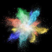 White powder explosion isolated on black — Stock Photo
