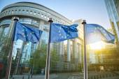 European union flag against parliament in Brussels — Stock Photo