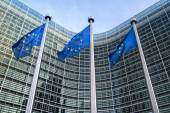 European Union flags near European commission  — Stock Photo