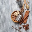 Various spices on wood — Stock Photo #69591867