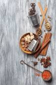 Various spices on wood — Stock Photo