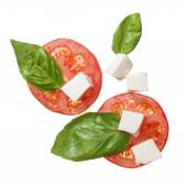 Red tomatoes, mozzarella and basil isoalted — Stock Photo