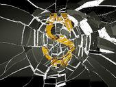 Glass and broken US dollar — Stock Photo