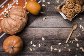 Rustic style pumpkins and cookies — Photo