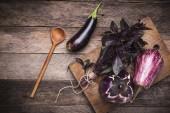 Aubergines and basil — Photo