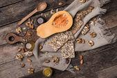 Cut Pumpkin, honey and cookies — Photo