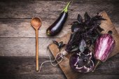 Aubergines, basil and spoon — Photo