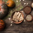 Pumpkins with cookies and seeds — Stock Photo #57983613