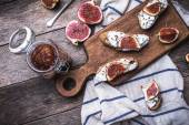 Rustic style tasty Bruschetta with jam — Foto de Stock