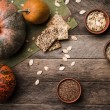 Rustic pumpkins with cookies — Stock Photo #59369439