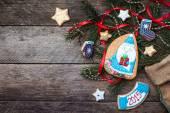 Christmas Santa cookies — Stockfoto