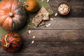 Rustic pumpkins with seeds — Stock fotografie