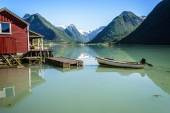 Norway fjord reflection — Stock Photo
