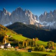 St. Magdalena mountain village in autumn — Stock Photo #69759239