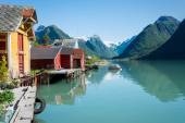 Fjord, mountains, boathouse and reflection in Norway — Stock Photo
