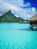 Luxury overwater vacation resort on Bora Bora — Stock Photo