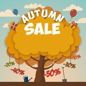 Sale advertising poster with autumn tree — Stock Vector