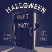 Open door on halloween night party — Vettoriale Stock