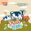 Fresh milk from farm to table — Stock Vector #52472513