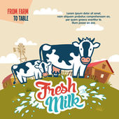 Fresh milk from farm to table — Stock Vector