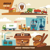 Bread production stages — Stock Vector