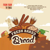 Fresh baked bread from farm to table — Wektor stockowy