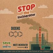 Stop incinerator cardboard illustration — Stock Vector