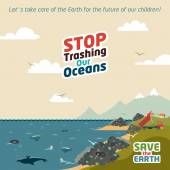 Stop trashing our oceans — Stock Vector