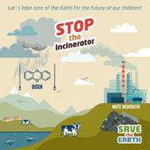 Stop the incineratior illustration — Stock Vector