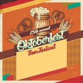 Tarjeta vintage festival de la cerveza oktoberfest — Vector de stock