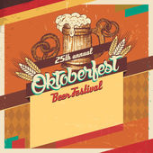 Oktoberfest beer festival vintage card — Stock Vector
