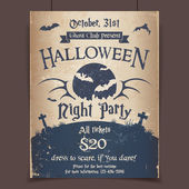 Halloween night party poster — Stock Vector