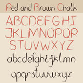 Red and brown chalk alphabet — Stock Vector