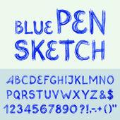 Pen sketch alphabet — Wektor stockowy