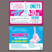 Ice skating birthday party invitation cards — Stock Vector