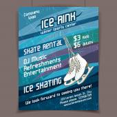 Ice rink advertising poster — Stok Vektör