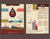 Oil company corporate flyer — Vector de stock