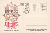 Vintage merry Christmas holiday postcard — Vector de stock